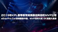 2019年KPL春季赛常规赛最佳阵容和MVP公布